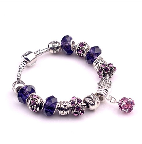 Gorgeous Jewelry Purple Geometry Pendant Diy Crystal Beads Owl Pattern Bracelets of Pandora Jewellery