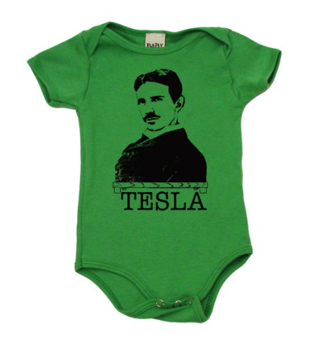 Nikola Tesla The Inventor On Infant Onesie, 3-6 Mo, Grass Green