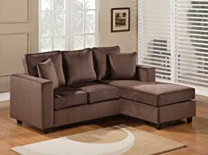 2pc. Reversible Chaise Sectional Sofa Chocolate Micro Fiber Finish
