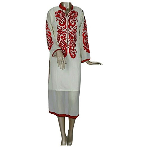 White Georgette Party Wear Kurti With Red Design Work