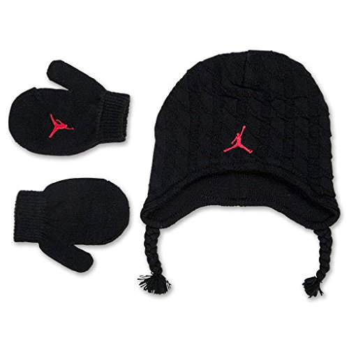 Nike Jordan Baby Boy's Cable Knit Beanie Hat & Mittens Set