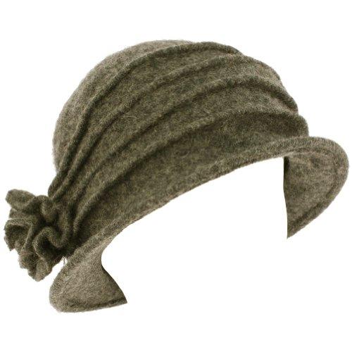 Wool Winter Cloche Bucket Flower Crushable Hat Gray