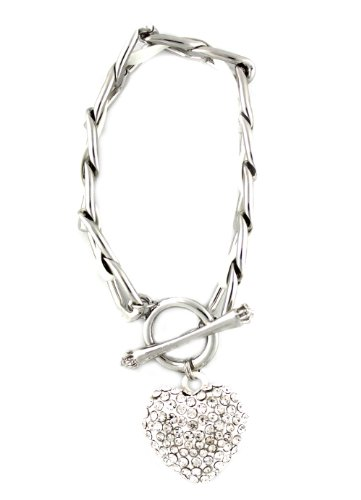Bracelet, ladies bracelet, silver with white synthetic leather, length: 17 cm, with a pendant in the shape of a heart, black, with rhinestones
