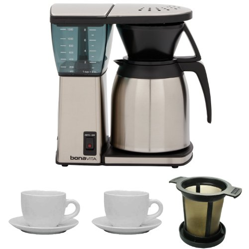 Bonavita BV1800TH 8 Cup Coffee Maker w/ Thermal Carafe + Two 13 Oz Cappuccino Cups + Accessory Kit