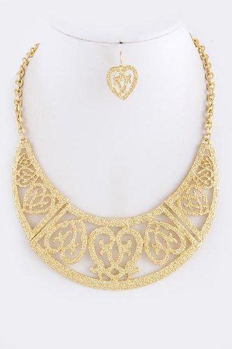 Karmas Canvas Pattern Bib Necklace Set (Gold) front-1019080