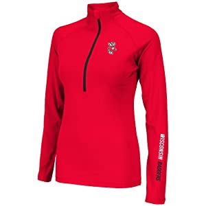 Wisconsin Badgers Ladies Soho Half Zip Long Sleeve T-Shirt by Colosseum