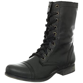 Distressed leather is built into a classic combat shape in this Steve Madden boot.