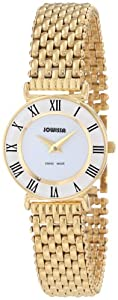 Jowissa Women's J2.029.S Roma 24 mm Gold PVD White Dial Roman Numeral Steel Watch