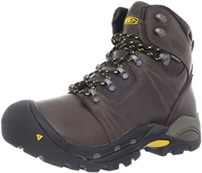KEEN Men's Erickson PCT Waterproof Hiking Boot,Shitake/Yellow,7 M US