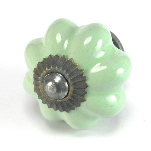 Retro Green Ceramic Cabinet Knobs, Drawer Pulls & Handles Set/4Pc ~ K48 Hand Glazed Vintage Ceramic Melon Knobs With Zinc Hardware. Ceramic Knobs, Handles & Pulls For Dresser, Drawers, Cabinets & Vanity front-974591