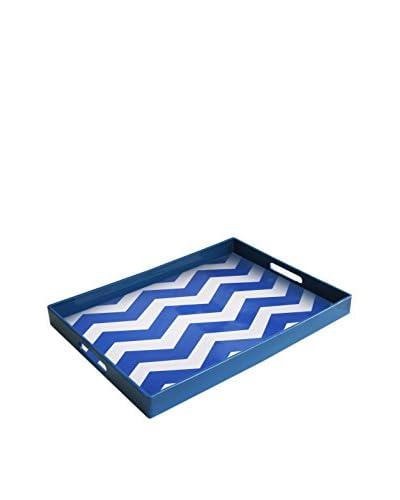 American Atelier Chevron Tray, Blue/White