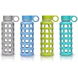 purifyou Glass Water Bottle, 12oz, Premium Quality with Protective Silicone Sleeve - Light Weight, Portable, BPA Free, Leak Proof & Reusable - For Home & Kitchen, Sports, Fitness, Camping, Outdoors & Yoga