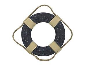 Hampton Nautical  Vintage Blue Decorative Life Ring, 10