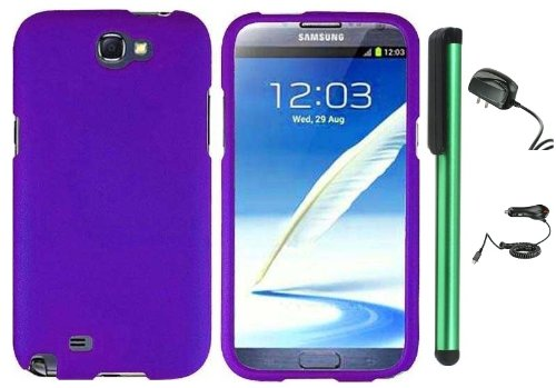 =>  Purple Design Protector Hard Cover Case for Samsung Galaxy Note II N7100 (AT&T, Verizon, T-Mobile, Sprint, U.S. Cellular) Android Smart Phone + Luxmo Brand Travel (Wall) Charger & Car Charger + Combination 1 of New Metal Stylus Touch Screen Pen (4