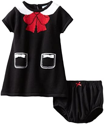 Hartstrings Baby-girls Infant Collar and Bow Pattern Sweater Dress and Diaper Cover Set, Black, 12 Months