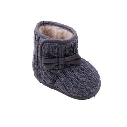Amlaiworld Inverno Stivali Per Bambino 3~12 Mesi,Stivali caldi suola morbida di bowknot (3-6 Mesi, grigio)