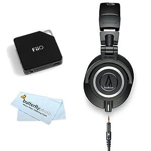 Audio-Technica ATH-M50X Professional Monitor Headphones - Black (New 2014 Model) with FiiO E6 Headphone Amplifier