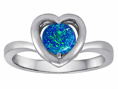 Star K Heart Engagement Promise Of Love Ring 7Mm Round Created Blue Opal Size 7