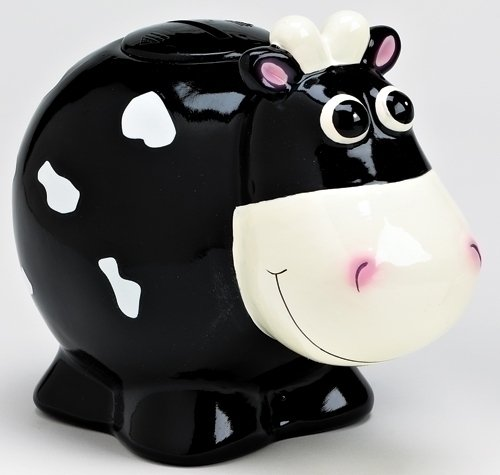 Black Cow Bank with Moo Sound Piggy Bank By Sound Investments