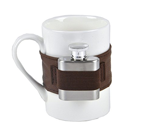 Extra Shot Ceramic 9Oz Coffee Mug With Strap-On Hip 1Oz Stainless Steel Flask