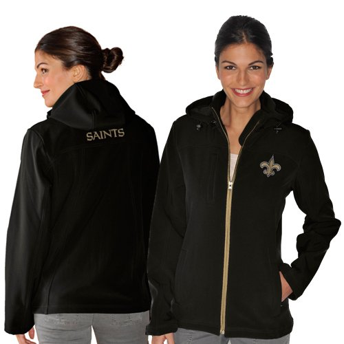 NFL New Orleans Saints Ladies Propel Softshell Full Zip Hooded Jacket - Black (Small) at Amazon.com