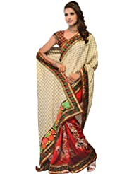 Exotic India Beige And Burgundy Fusion Sari With Floral Anchal And Patch - Beige