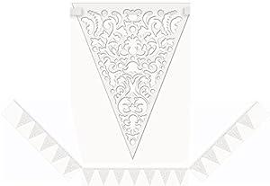 14ft Die Cut Paper White Lace Flag Banner by Unique