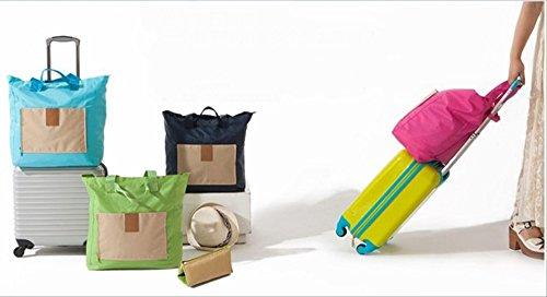 [OHAGI] 折りたたみ バッグ コンパクト ポータブル トラベルバッグ 旅行バッグ 買い物バッグ (バッグハンガー付:ネイビー)