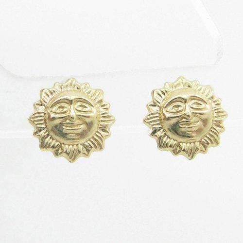 womens bp63 fancy earrings 14K yellow gold italian ball stud huggie hoop