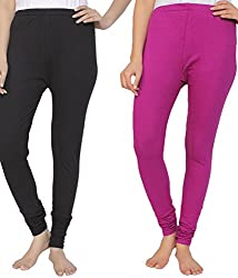 Ace Women Leggings(combo of Black and Rani Pink)