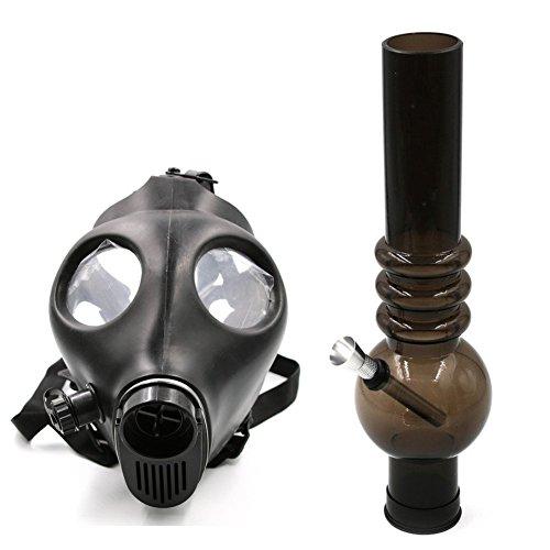 Kosoul-Van-17-Inch-Length-Acrylic-Skull-Gas-Mask-Tobacco-Hookah-Shisha-Straight-Hose-Pipe-with-a-Spring-PipeBlack