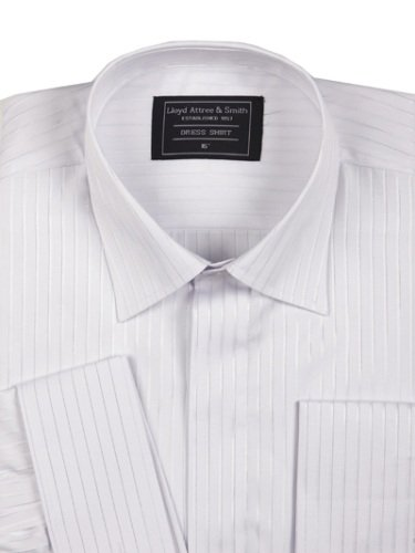 Mens Fly Front Standard Collar Formal Dress Shirt White with Double Cuff