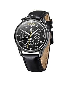 Megir 3005 Men's Chronograph Leather Strap Waterproof Watches Black