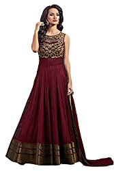 Clickedia Women's Net Dress Material (Boat Neck Red suit_Red)