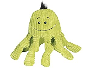 HuggleHounds Plush Corduroy Durable Octo-Knotties Dog Toy, Citron
