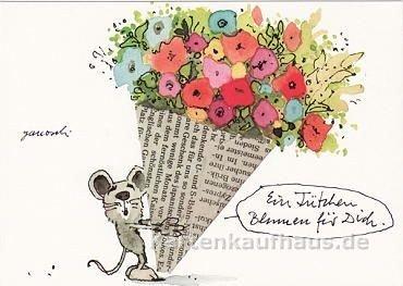 Janosch Postkarte Ein Tütchen Blumen