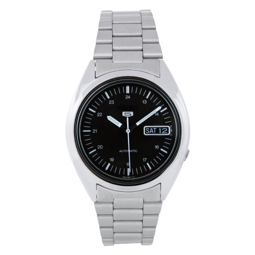 Seiko Men's SNXF11K Silver Stainless-Steel Automatic Watch with Black Dial