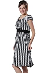 Sweet Mommy Stripe Maternity and Nursing Half Sleeve Dress