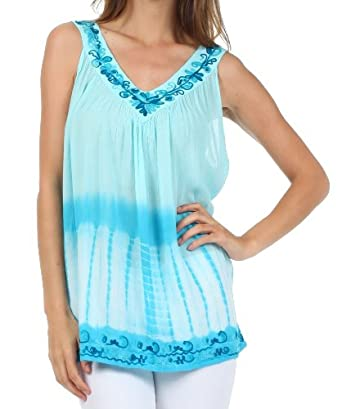 Sakkas 725 Ombre Tie Dye Gauzy Crepe Sleeveless Relaxed Fit Top / Blouse - Aqua / One Size