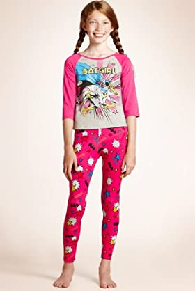 Older Girls' Slash Neck Batgirl Pyjamas