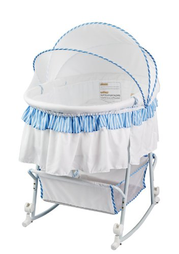 Dream On Me Lacy Protable 2 in 1 Bassinet and Cradle, Blue/White