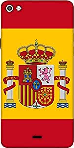 Snoogg Spain Flag 2980 Designer Protective Back Case Cover For Micromax Canvas Silver 5 Q450