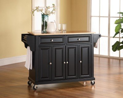 Nice Crosley Furniture Natural Wood Top Kitchen Cart Island Black