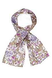 Classic Collection Pure Silk Painted Floral Print Scarf