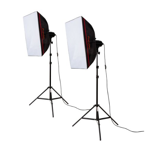 PhotoSEL LS21E52 Professional Softbox Studio Lighting Kit with 2x85w 5400K CRI>90 Bulbs, 40x60cm Softboxes