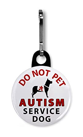 DO NOT PET AUTISM SERVICE DOG Medical Alert 1 inch Black Zipper Pull Charm