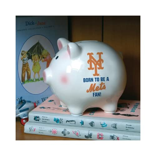 New York Mets Born To Be Fan Ceramic Piggy Bank Sports & Outdoors