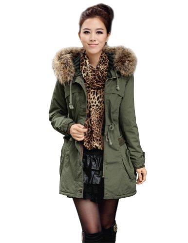 Senfloco Elegant Women's Thicken Fleece Hooded Faux Fur Coat (CN L = US 6, Army Green)
