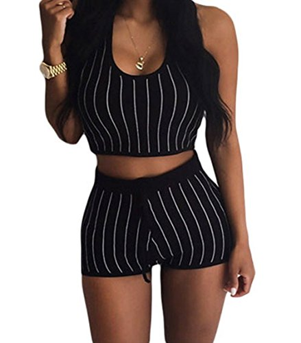 PEGGYNCO Womens Stripe Hooded Crop Top and Short Set Black Size L