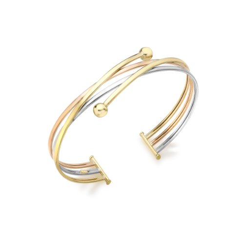 9ct Three Colour Gold Crossover Ball Detail Bangle